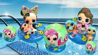 LOL Surprise Dolls Meet New Big Sisters at Swimming Pool! Toys and Dolls Party Ultra Rare Gold Ball