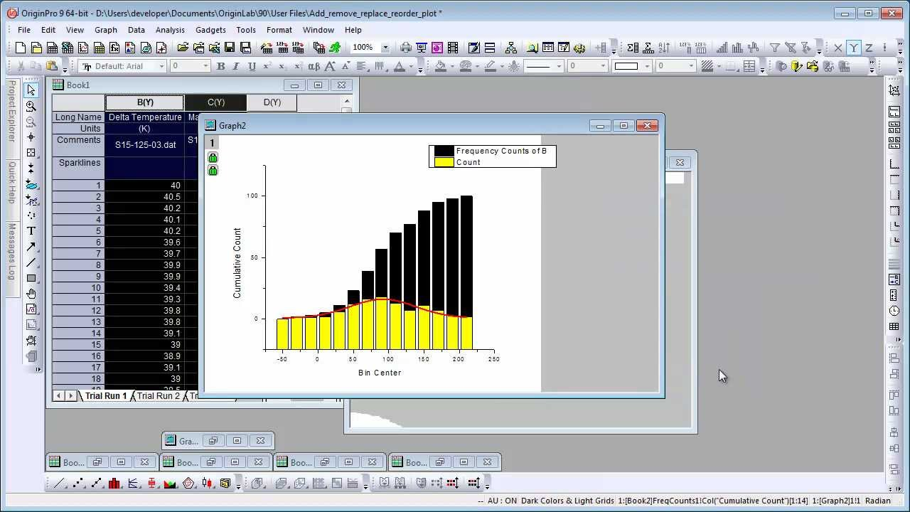 Graphing: Origin 9: Add, Remove, Replace or Reorder Data Plots