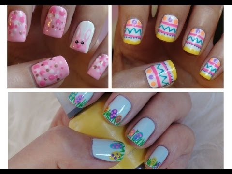 Easter Nail Art Three Cute Easy Tutorials Youtube