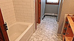 Complete Tile install, Subway tile tub area and Hexagonal ceramic tile floor. Time Lapse