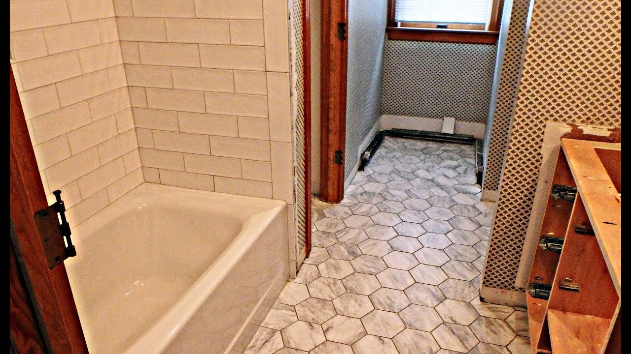 complete tile install subway tile tub area and hexagonal ceramic tile floor time lapse