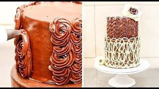 How To Make a White Chocolate Lace Wrap Swirl for Chocolate Buttercream Cake by CakesStepbyStep