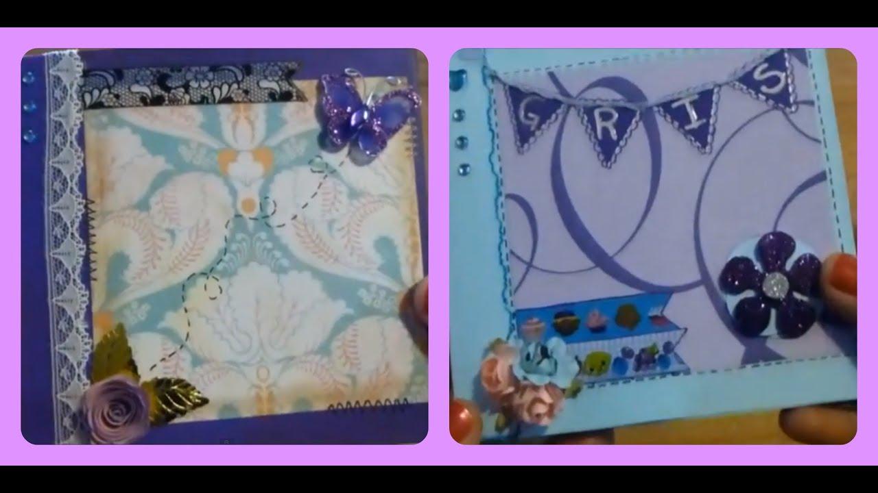 Tutorial mini album tipo scrapbook con once bolsillos - Como decorar un album de fotos ...