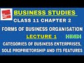 FORMS OF BUSINESS ORGANISATION   LECTURE 1   BUSINESS STUDIES CLASS 11 CHAPTER 2