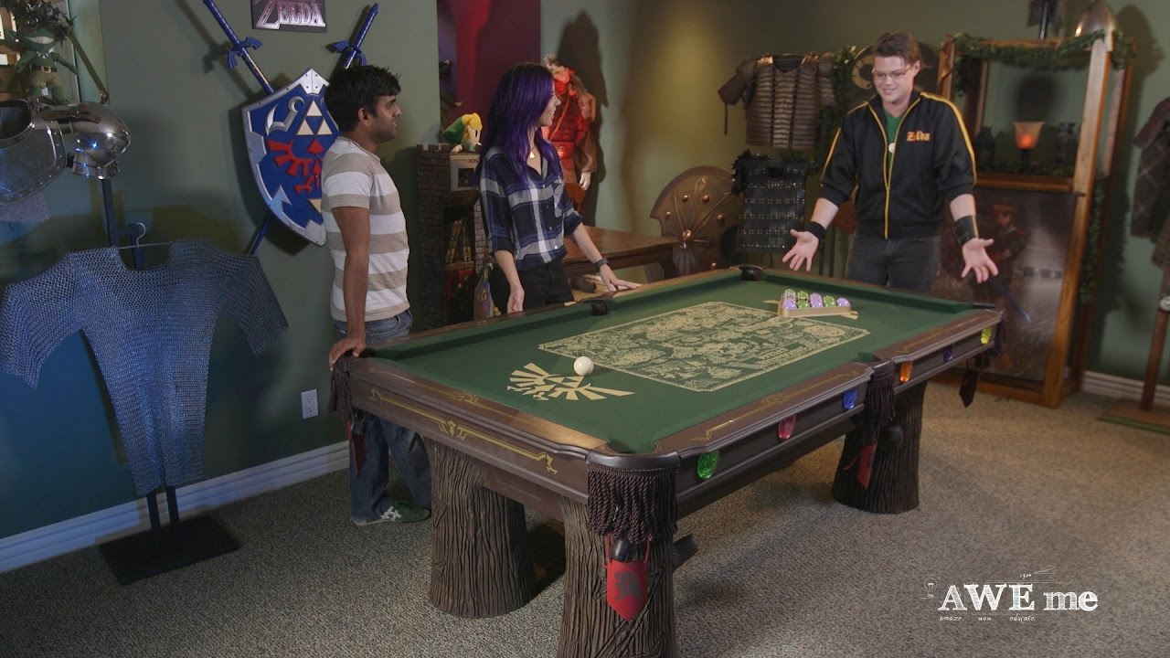 Custom Legend of Zelda pool table has legs like tree trunks