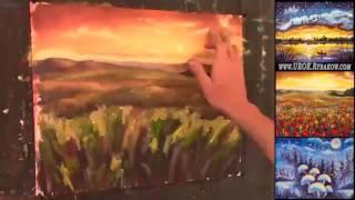 Рисуем в Реальном времени Поле красных маков. Как нарисовать цветы маслом.