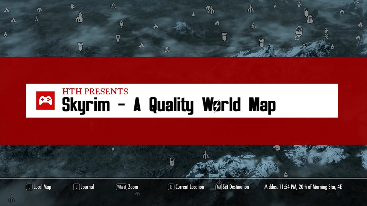 skyrim mods a quality world map and solstheim map with roads youtube