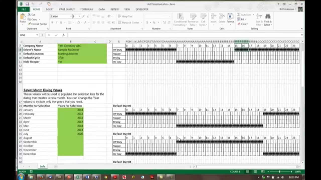 install and customize the hos timesheet template youtube