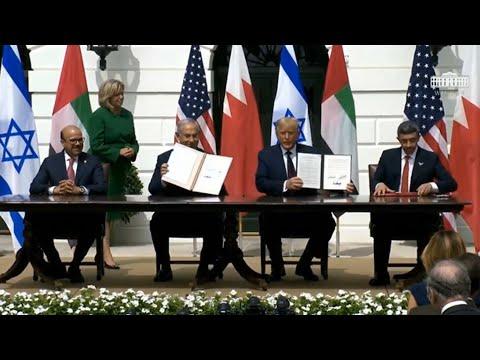 EAU y Bahréin firman sendos acuerdos de paz con Israel