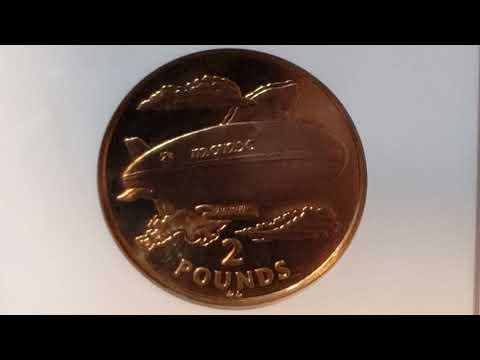 Isle of Man, 2 Pound Dirigible, KM#257