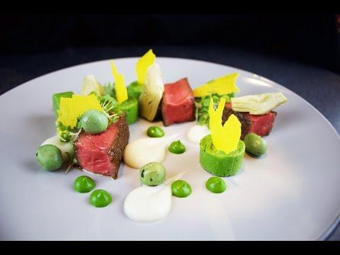 Plating Food #42 | Steak sirloin, artichokes, polenta, parsley, hazelnut, wasabi, mustard