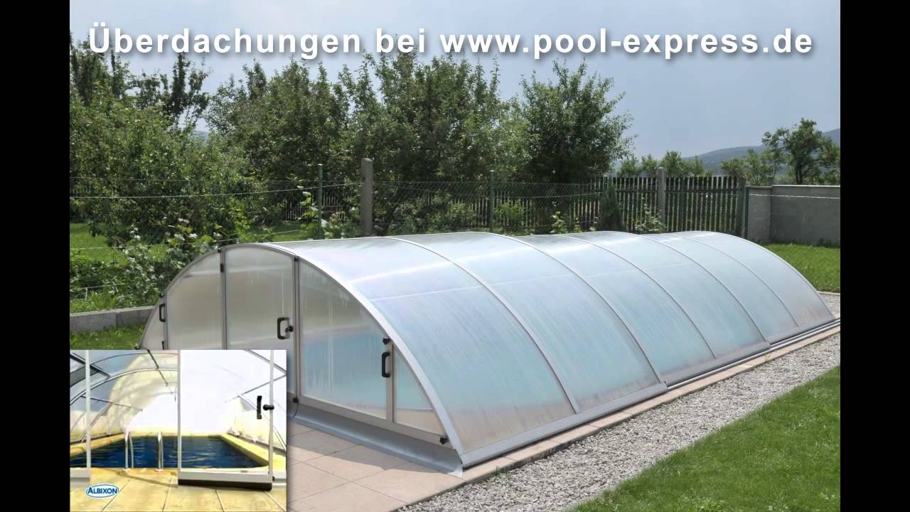 pool berdachung schwimmbad berdachung abdeckung schiebehalle bei pool youtube. Black Bedroom Furniture Sets. Home Design Ideas