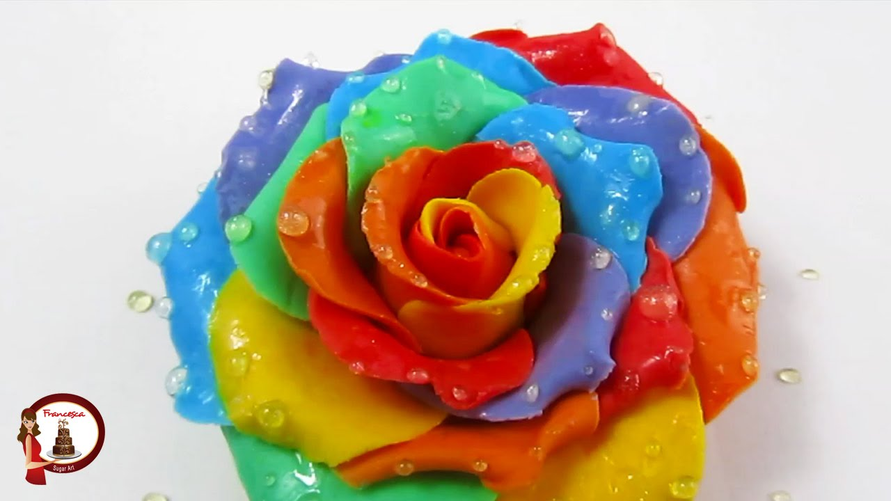 Wet Rainbow Roses out of gumpaste - YouTube
