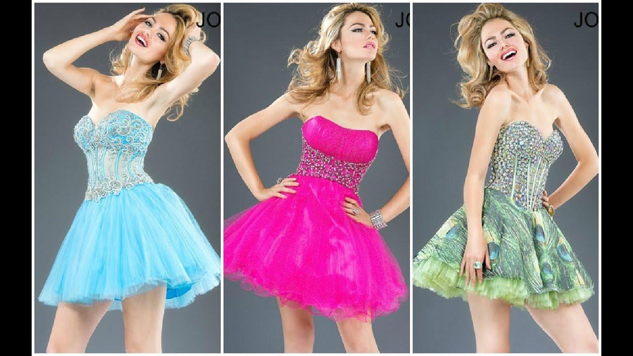 18bc96f033 Modernos vestidos cortos para quinceañeras ♥ - YouTube