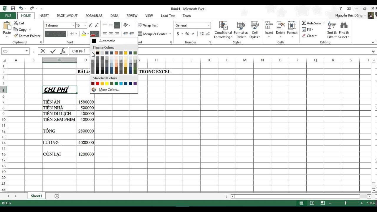 [Excel 2013] Bài 04: Định dạng căn bản trong Excel