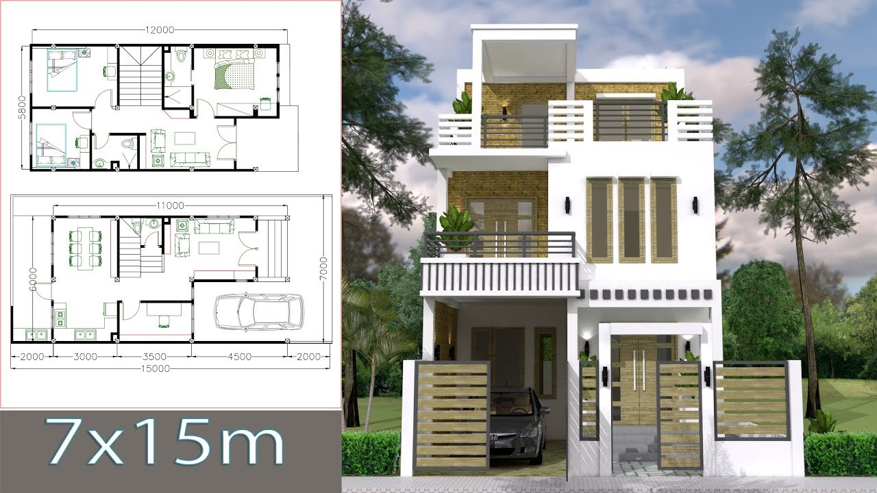 home blueprint design 7x15m simple home design plan with 3 bedrooms sketchup modeling house plans youtube 6396