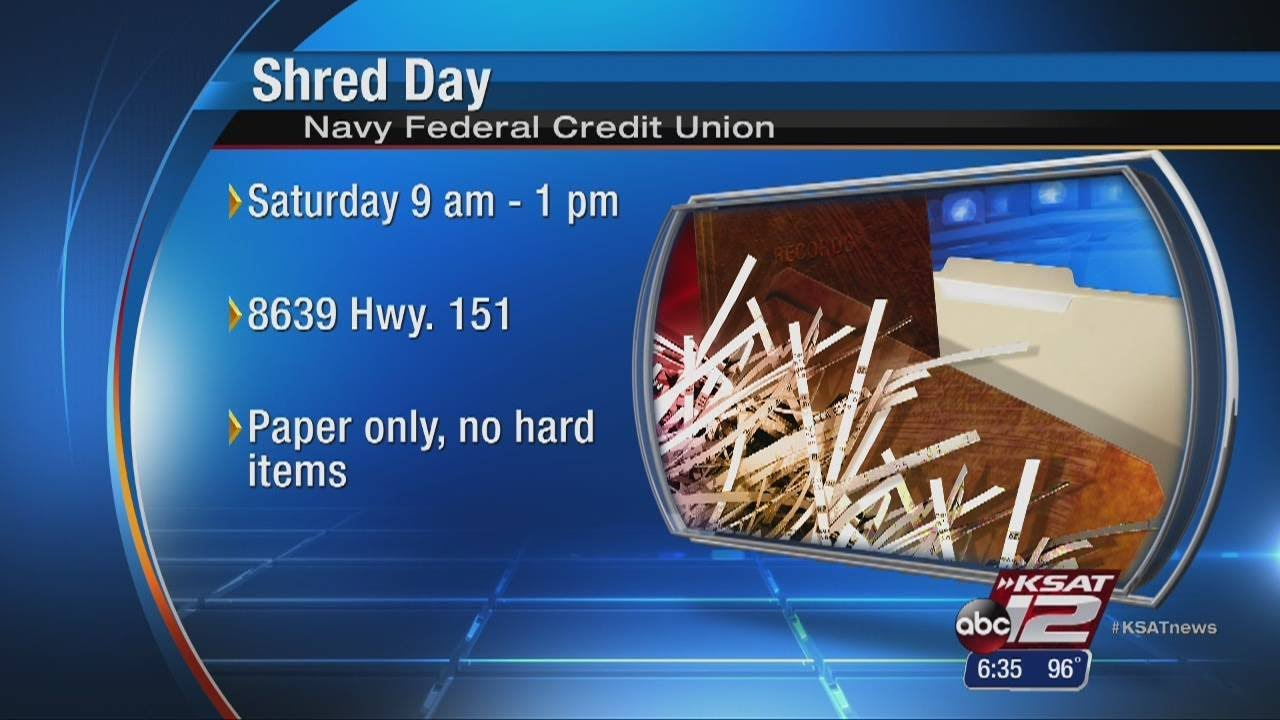 Navy Federal Credit Union To Hold Shred Day Saturday Youtube