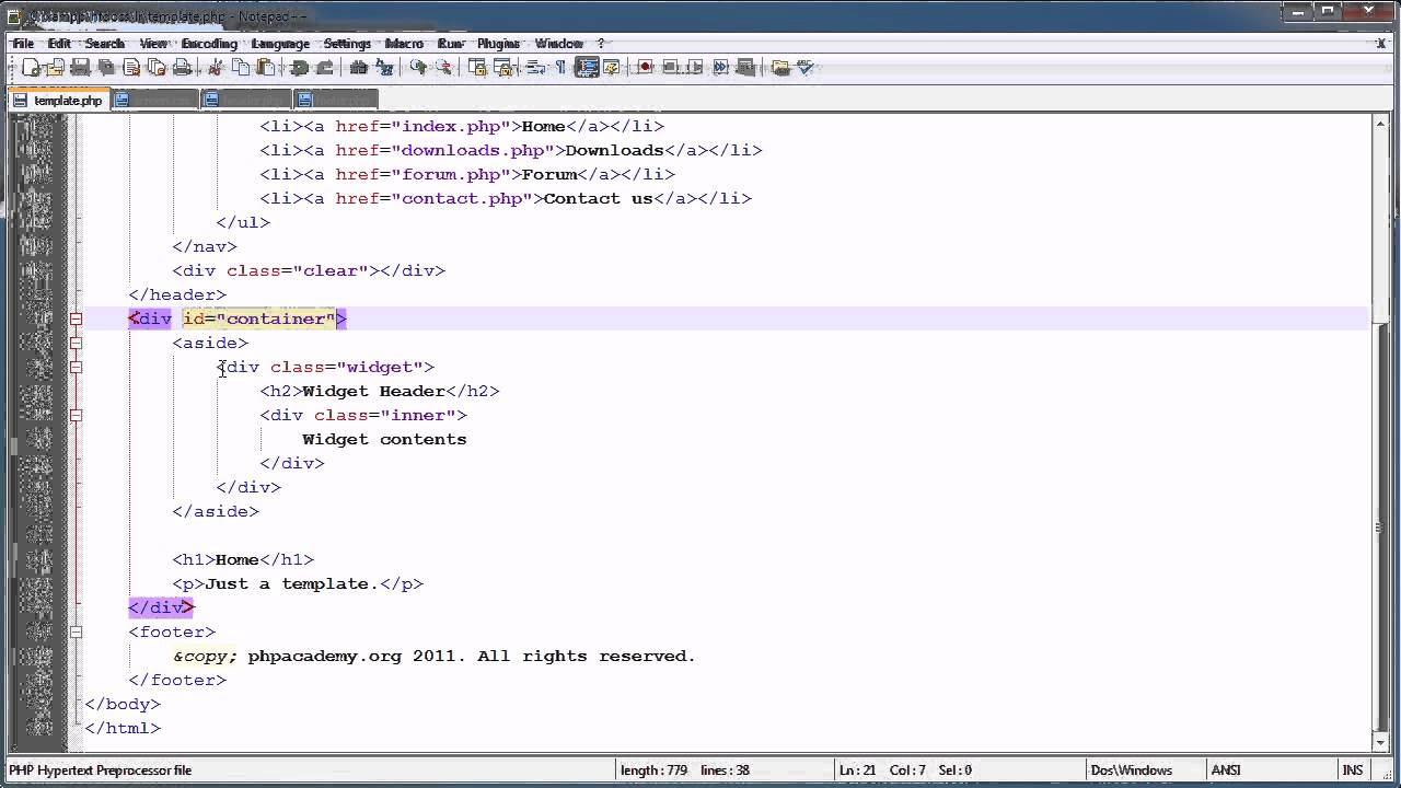 PHP Tutorials: Register & Login (Part 2): Template Overview - YouTube