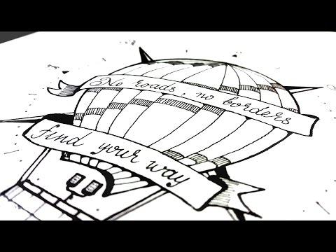 Рисунки карандашом и лайнером. Набросок тату. Air balloon tattoo sketch.