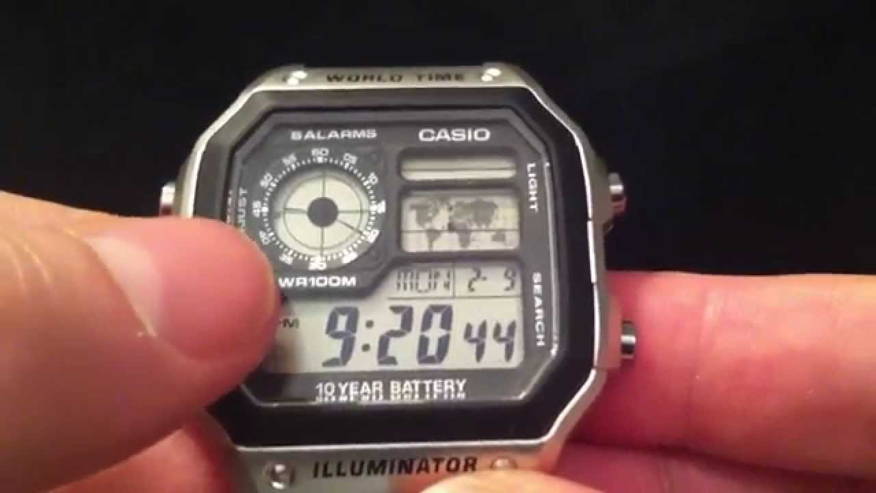 Casio Ae 1200 Whd 1avef World Time Watch Youtube Jam Tangan F 200w 9a