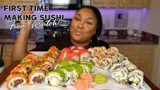 ATTEMPTING TO MAKE SUSHI FROM SCRATCH  FULL RECIPE + MUKBANG