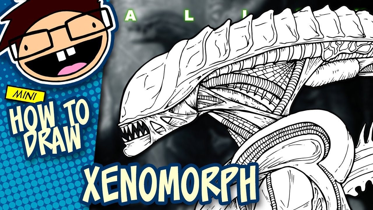 How to draw an alien xenomorph alien movie franchise narrated easy step by step tutorial