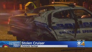 Colorado Springs Police Cruiser Stolen, Suspect Crashes In Front Of Penrose Hospital