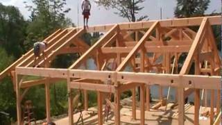 Timber Frame Cottage Raising In Pennsylvania
