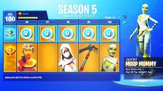 Fortnite SEASON 5 BATTLE PASS - Fortnite Battle Royale Season 5 MAX RANK BATTLE PASS
