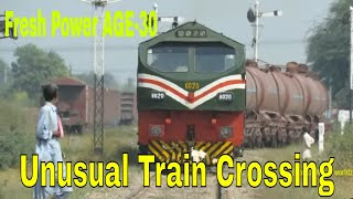 Pakistan Railways   AGE-30 6020 with Dn Cm A3 Oil Train departure Faisalabad Dry Port   12.10.2018