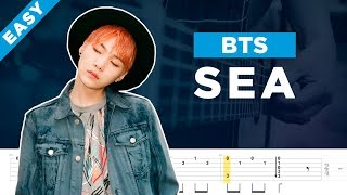 BTS SEA 바다  acoustic guitar cover, lesson, chord and tab