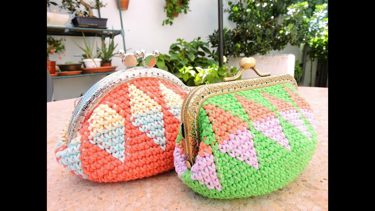 Monedero tapestry crochet free pattern - YouTube