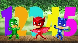 FIVE LITTLE PJ MASKS JUMPING ON THE BED ¦ FIVE LITTLE MONKEYS LEARN NUMBERS