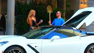 Gold Digger White Corvette Prank 😂😂😂