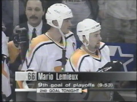 Mario Lemieux Scores From Goal Line May 1 1996