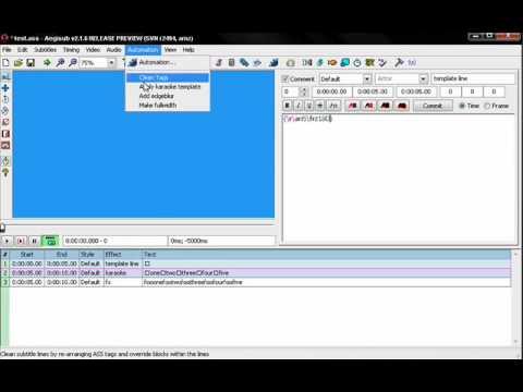 tutorial aegisub karaoke template 1 template line youtube