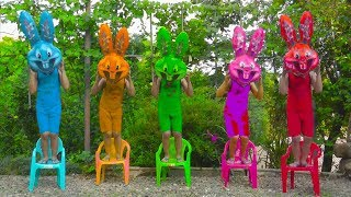 Five Color Rabbits Jumping On The Chair For Learning Colors And More Nursery Rhymes For Kids