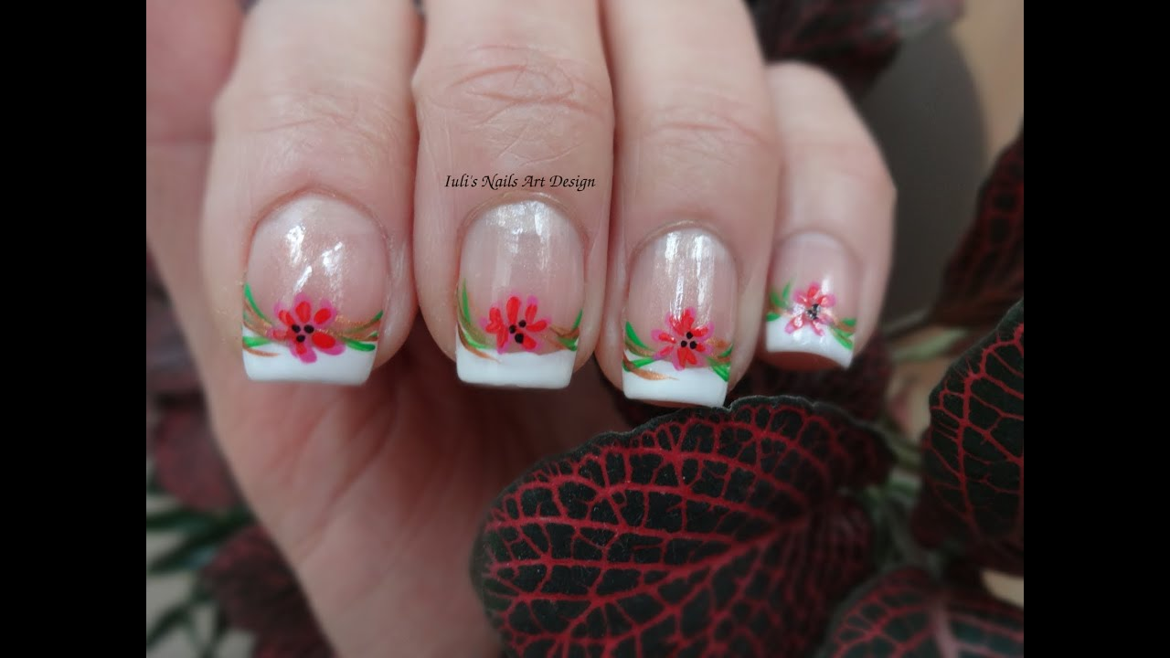 Nail Art Design Classic French Manicure Tutorial Spring Wild Flowers ...