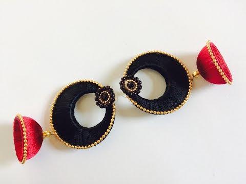 How to make Latest Silk thread chandbali jhumka earrings easy tutorial