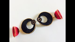 How to make Latest Silk thread chandbali jhumka earrings easy tutorial