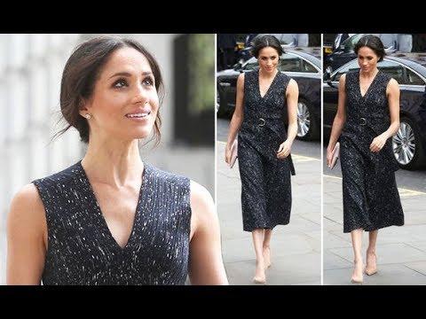 Meghan Markle wears dark grey dress for Stephen Lawrence memorial amid royal baby news