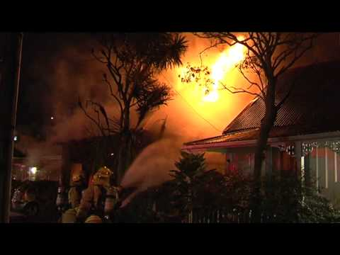 House on fire in Grafton, Auckland  NZ