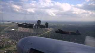 Avro Lancaster from on board the Mosquito. HD.