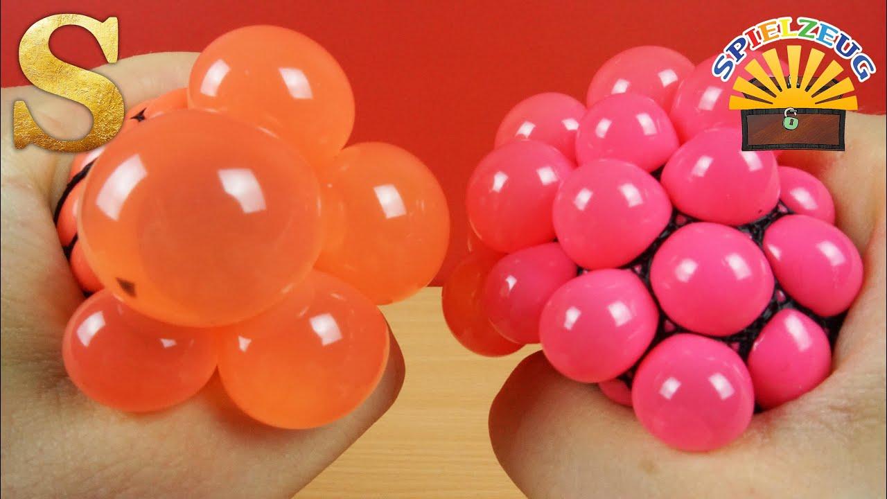 SQUISHY MESH BALL - Glibberiger Antistressball im Netz verschiedene Farben & Effekte deutsch ...