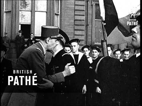General De Gaulle Honours Free French Navy (1941)