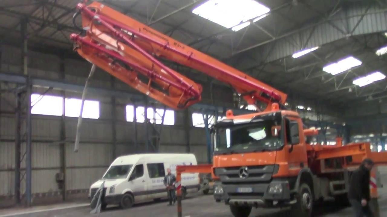 Pompe b ton 31m 5 bras d pliage int rieur transports cousin youtube - Pompe a teton ...