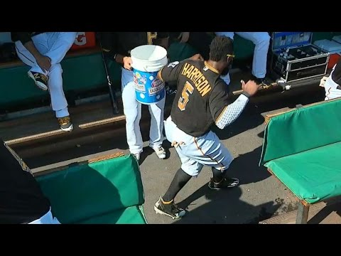 Pirates dance in the dugout before the game