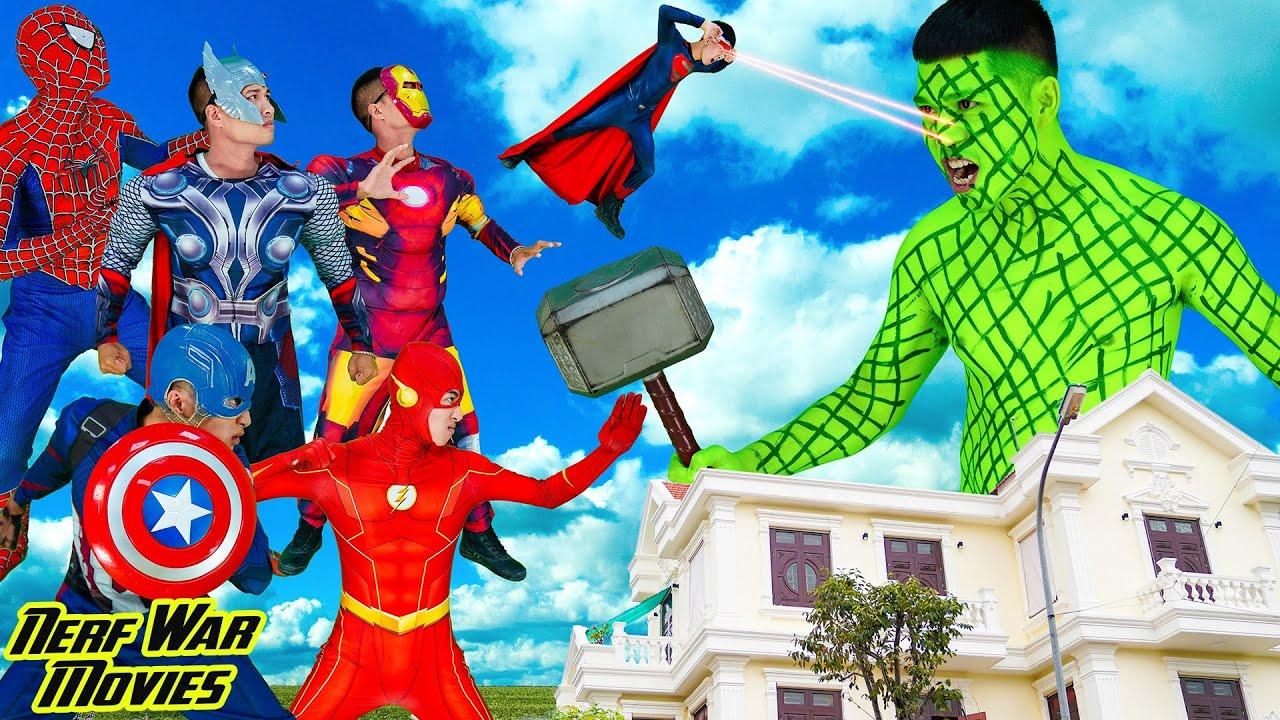 Nerf War Movies: All Superheroes X Warriors Nerf Guns Fight Criminal Group Giant HulkZilla Attack