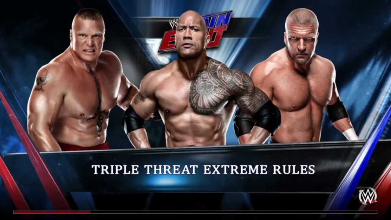 WWE 2K15- Triple H vs Brock Lesnar vs The Rock Triple ...