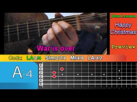 Happy Xmas (War is Over) John Lennon - TUTORIAL CHITARRA - GUITAR LESSON  - TAB Accordi / Chords